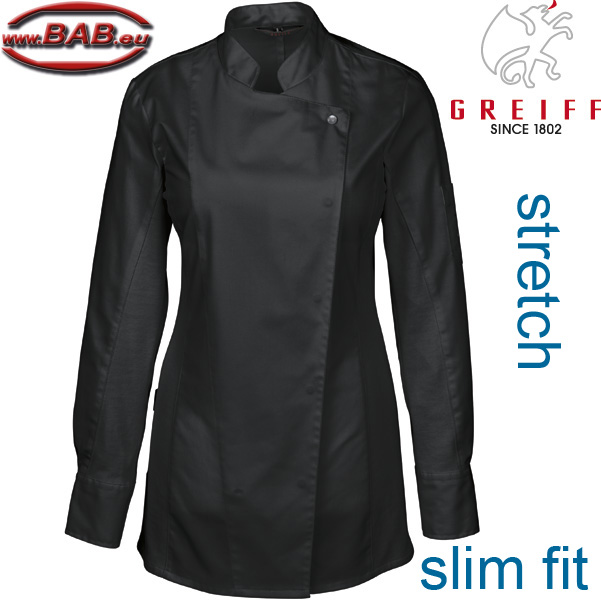 Greiff 5408 Kochjacke Damen stretch slim fit schwarz