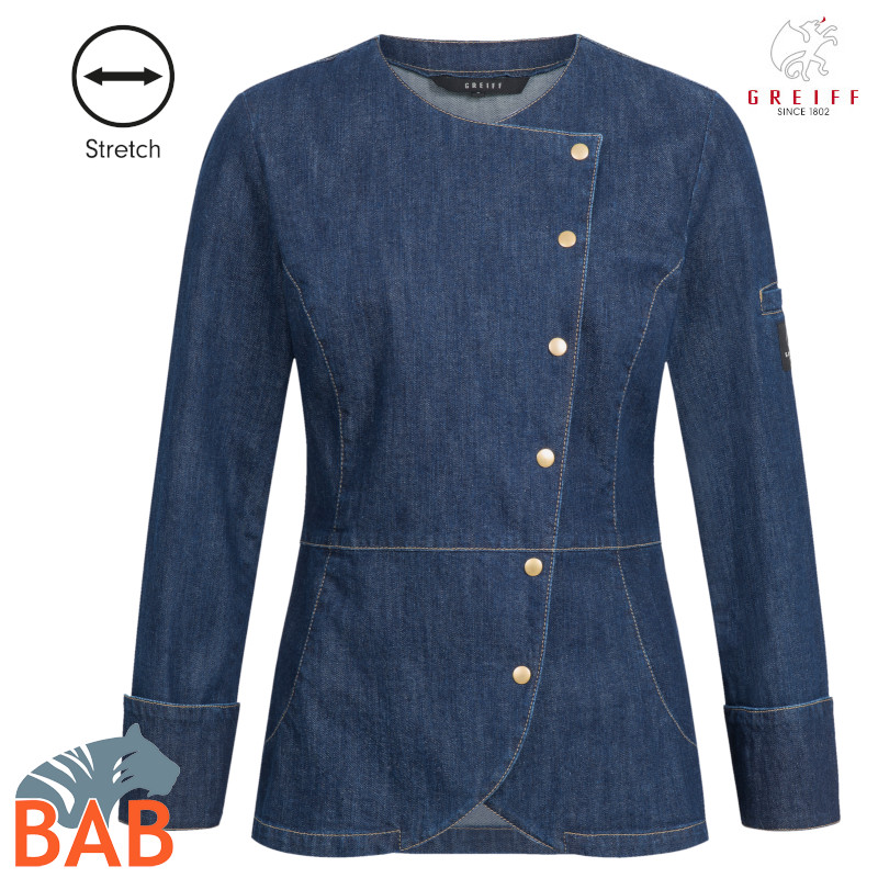 Greiff 54147 Damen Kochjacke in blue Denim mit Stretchanteil